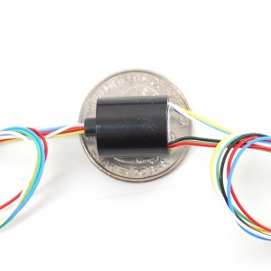Miniature Slip Ring - 12mm diameter, 6 wires, max 240V @ 2A