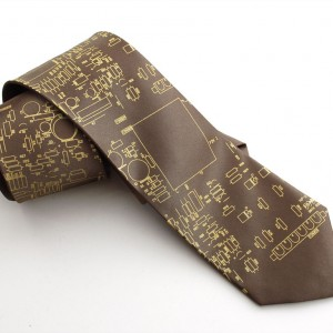 """Circuit board necktie """"Resistor"""" - Olive with gold ink, narrow"""