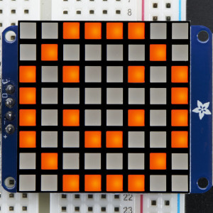 "Small_1.2""_8x8_Ultra_Bright_Square_Amber_LED_Matrix+Backpack"