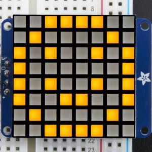 "Small_1.2""_8x8_Ultra_Bright_Square_Yellow_LED_Matrix+Backpack"