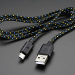 USB Patterned Fabric Cable - A/MicroB - 3ft