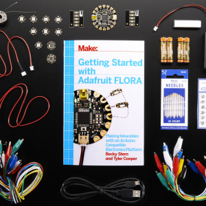 Pickup a copy of Getting Started with Adafruit FLORA and then hit the ground running with everything that you need to become an Adafruit FLORA supreme being! This pack is perfect for somebody interested in the wide world of wearable electronics and Adafruit's tiny FLORA board. Pack includes: 1x Getting Started with Adafruit FLORA book 1x FLORA - Wearable electronic platform: Arduino-compatible 1x Small Alligator Clip Test Lead (set of 12) 1x Sewable Snaps - 5mm Diameter - Card of 24 2x JST-PH Battery Extension Cable - 500mm 1x Magnetic Pin Back 1x FLORA Accelerometer/Compass Sensor - LSM303 2x Flora RGB Smart NeoPixel version 2 - Pack of 4 1x Flora Color Sensor with White Illumination LED - TCS34725 1x Short Wire Alligator Clip Test Lead (set of 12) 2x Adafruit LED Sequins - Warm White - Pack of 5 1x USB cable - A/MiniB 1x Needle set - 3/9 sizes - 20 needles 2x Alkaline AAA batteries - 2 pack 1x Stainless Thin Conductive Thread - 2 ply - 23 meter/76 ft 1x Stainless Medium Conductive Thread - 3 ply - 18 meter/60 ft 1x 3xAAA Battery Holder with On/Off Switch and 2-Pin JST This is the most beginner-friendly way to create wearable projects of your own. Using the book as your sensei and the products as your weapons, you'll learn how to plan your wearable circuits, sew with electronics, and write programs that run on the FLORA to control the electronics. The FLORA family includes an assortment of sensors, as well as RGB LEDs that let you add lighting to your wearable projects!