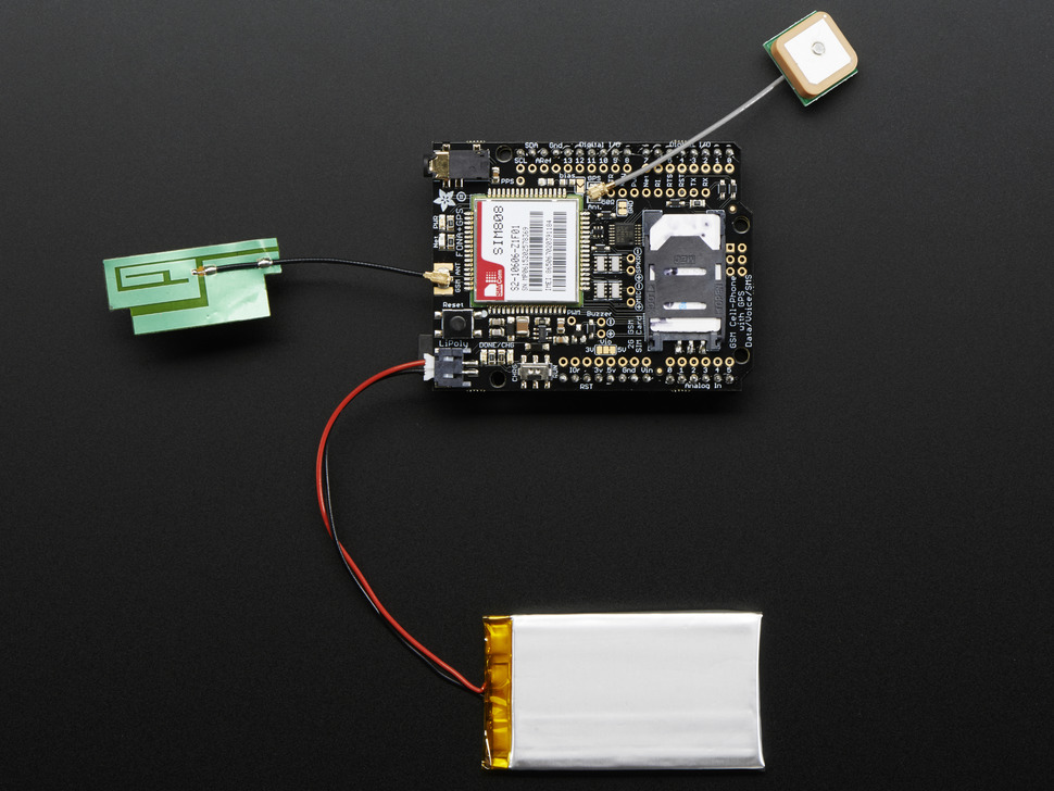Adafruit fona shield — mini cellular gsm gps for