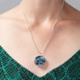 Blue Circuit Board Pendant Necklace with Silver Chain