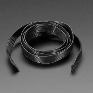 Silicone Cover Stranded-Core Ribbon Cable - 10 Wire 1 Meter Long - 28AWG Black