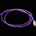 USB micro B Cable with LEDs - Blue and Red - 1 meter
