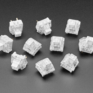 For crafting your very own custom keyboard, these Kailh White Linear mechanical key switches are deeee-luxe! With smooth actuation and Cherry MX compatibility, they're lovely when you want a clicky tactile keystroke with a snappy feel and an audible click when pressed.  Type: Clicky tactile Operating force: 50 gf (+/-10 gf) Tactile force: 55 gf (+/-10 gf) Pretravel: 1.8 mm (+/- 0.3 mm) Pressure point: 1.7 mm Total travel: 3.6 mm (+/- 0.3 mm) Reset point: 1.8 mm Comes in a pack of 10 switches, plenty to make a small keyboard, or grab a few packs to build a full keyboard.  Use these with our NeoKey boards, such as the Socket Breakout and the FeatherWing. They work great with mechanical key sockets if you want to avoid soldering. We also have MX-compatible keycaps to snap right on. We also carry the Red, Black, and Brown versions of these key switches, for different key-press feel.