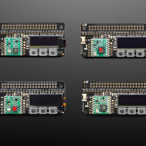 The latest Raspberry Pi computers come with WiFi and Bluetooth, and now you can add even more radio options with the Adafruit Radio Bonnets! Upgrade your Raspberry Pi with an RFM69 or LoRa / LoRaWAN radio, so it can communicate over very long distances. These bonnets plug right into your Pi and give you long range wireless capabilities to remote nodes that may be battery powered. Or, you can create Internet gateways with ease.  You not only get a radio module, but also a 128x32 OLED display for status messages and three buttons you can use for creating a custom user interface or sending test messages. All of the above is supported with our Python libraries so you can send or receive LoRa/radio data with other matching modules, send data to a LoRaWAN gateway, or even set up your own single channel LoRaWAN-to-Internet gateways.  Compared to the 2.4 GHz WiFi/Bluetooth radios on the Pi already, these modules run at 433 or 900 MHz (sub-GHz). You can't send data as fast but you can send data a lot farther. These packet radios are simpler than WiFi or BLE, you don't have to associate, pair, scan, or worry about connections. All you do is send data whenever you like, and any other modules tuned to that same frequency (and, with the same encryption key) will receive. The receiver can then send a reply back. The modules do packetization, error correction and can also auto-retransmit so it's not like you have worry about everything but less power is wasted on maintaining a link or pairing.  These modules are great for use with other microcontrollers with matching radios (like say our RadioFruit Feathers), say if you want a sensor node network or transmit data over a campus or town. The trade off is you need two or more radios, with matching frequencies.  RADIO MODULES & FREQUENCY VARIANTS These radio modules come in four variants (two modulation types and two frequencies):  The first variant is the RFM69 Radio Bonnet. RFM69's are easiest to work with, and are well known and un