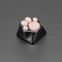 Black Aluminum Kitty Paw Keycap with Pink Silicone Toes - MX Compatible Switches